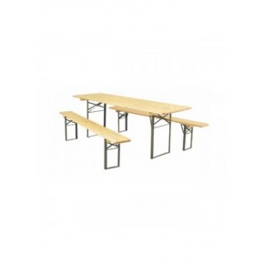 Ensemble table en bois pliante+ 2 bancs