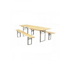 Ensemble table en bois pliante+ 2 bancs